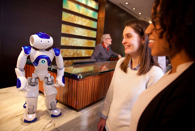 This is the IBM Watson-powered concierge robot in use at a Hilton Hotel.