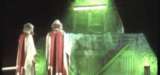 A frame from the wonderful BBC TV original series based on Douglas Adams' 'Hitchiker's Guide to the Galaxy'.