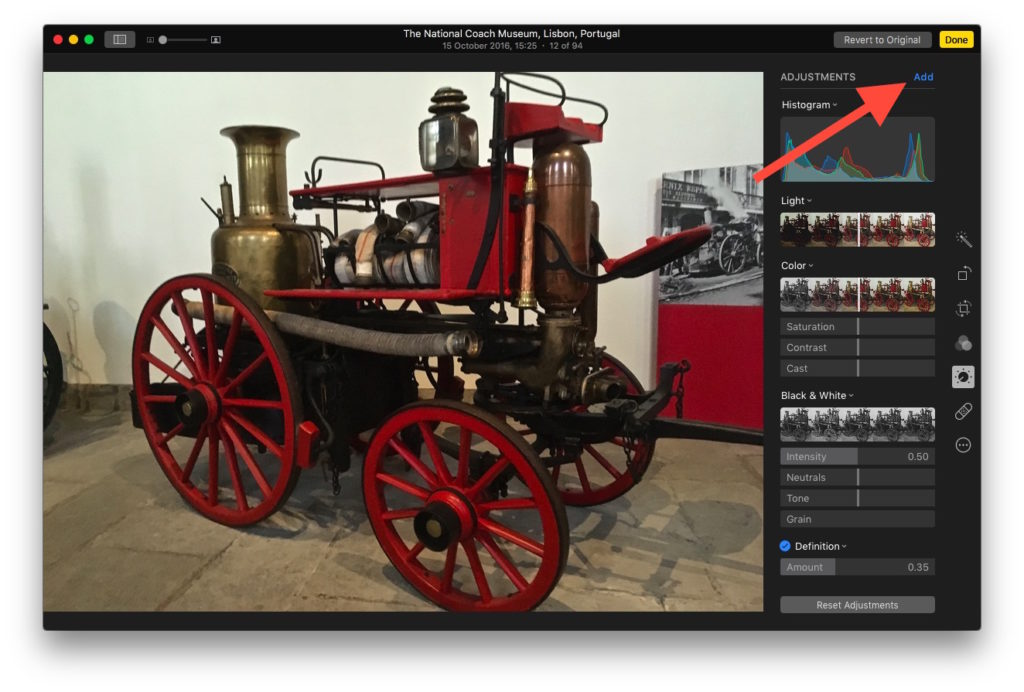 Tap 'Add' to access additional image enhancement tools