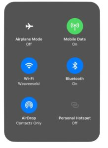 AirDrop and Hotspot in Control Center