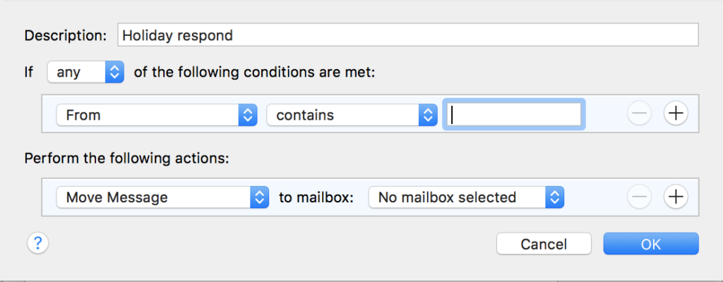 How to create an AutoResponder message in Mail