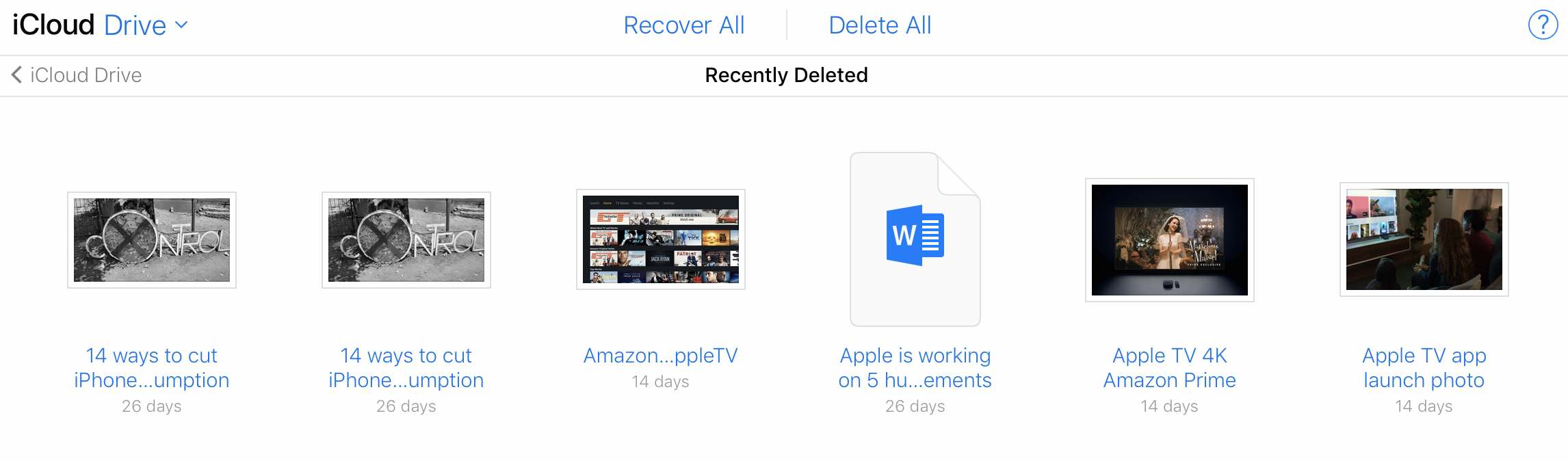 iCloud Drive Recovery