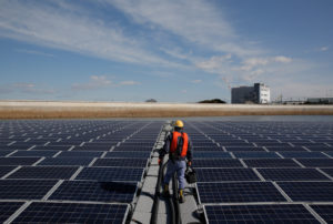 A picture of one of Apple's massive solar panels