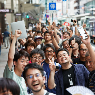 Customers queue down Shijō Dori, the street that has served as the city's main shopping corridor since the 1600s.