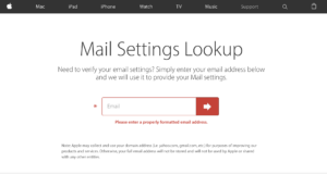 Mail Settings Lookup screen