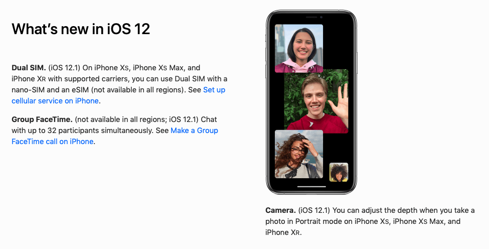 Apple iOS 12 guide link