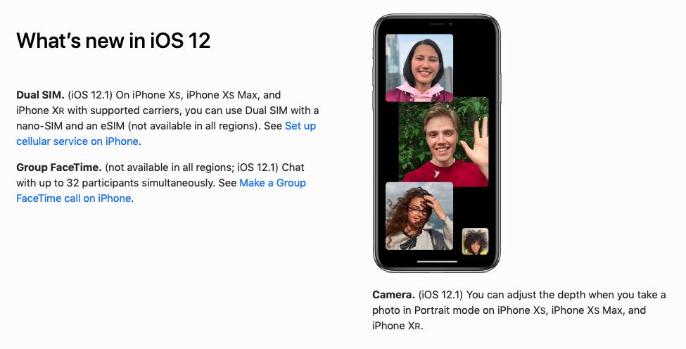Apple iOS 12 guide link