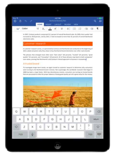 Word running on older iPad