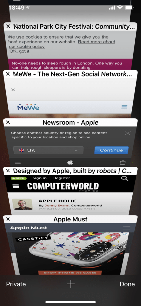 This is Safari's carousel view for tabs on an iPhone