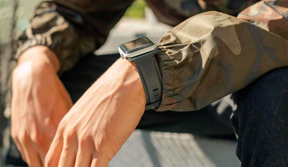 This image shows the leather Apple Watch strap